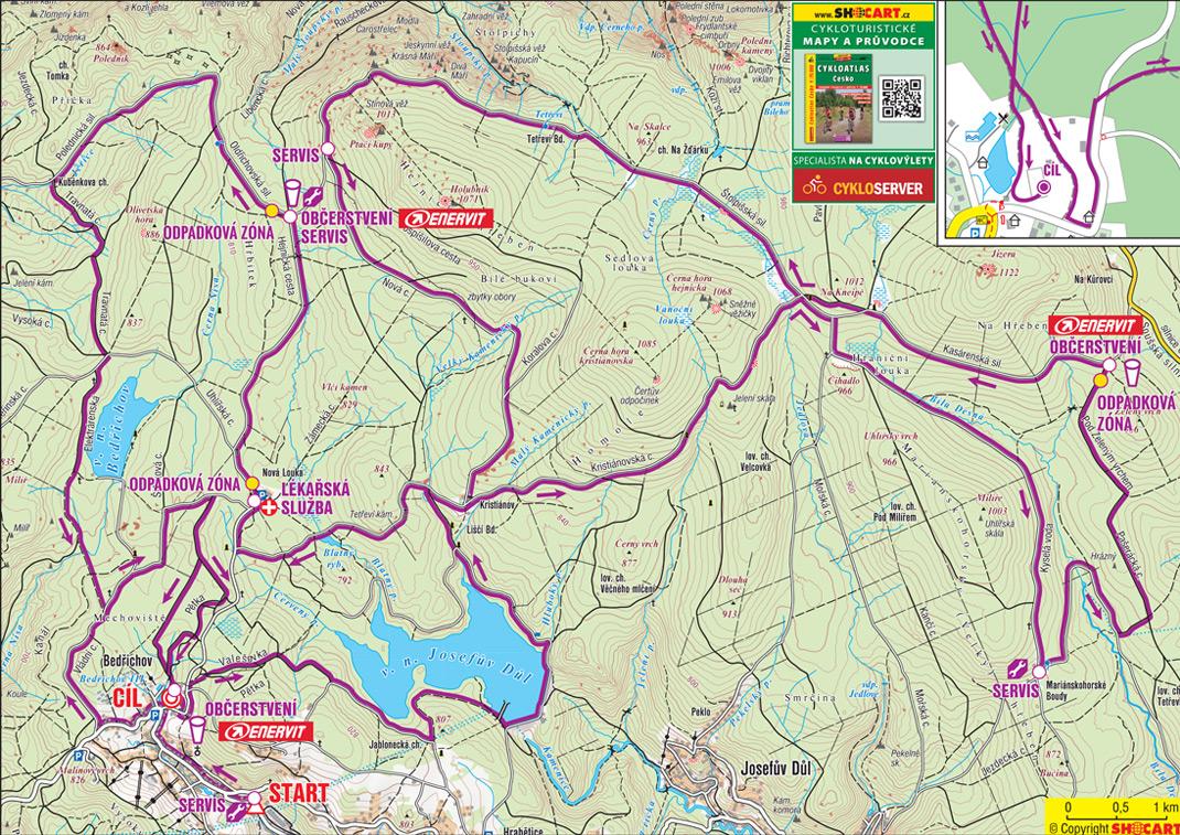 Mapa delší trasy závodu ČT Author Cup 2020