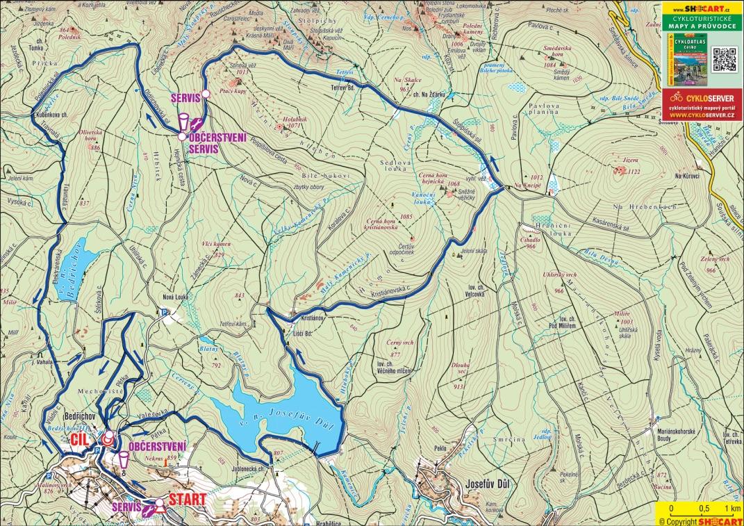 Mapa kratší trasy závodu ČT Author Cup 2020